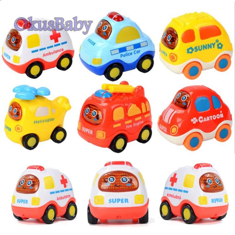 6 pçs/set Veículo de Brinquedo Inércia Carro de Brinquedo Dos Desenhos Animados Do Bebê Para Trás do Helicóptero Da Polícia Ambulância Minibus Taxi Presente Das Crianças