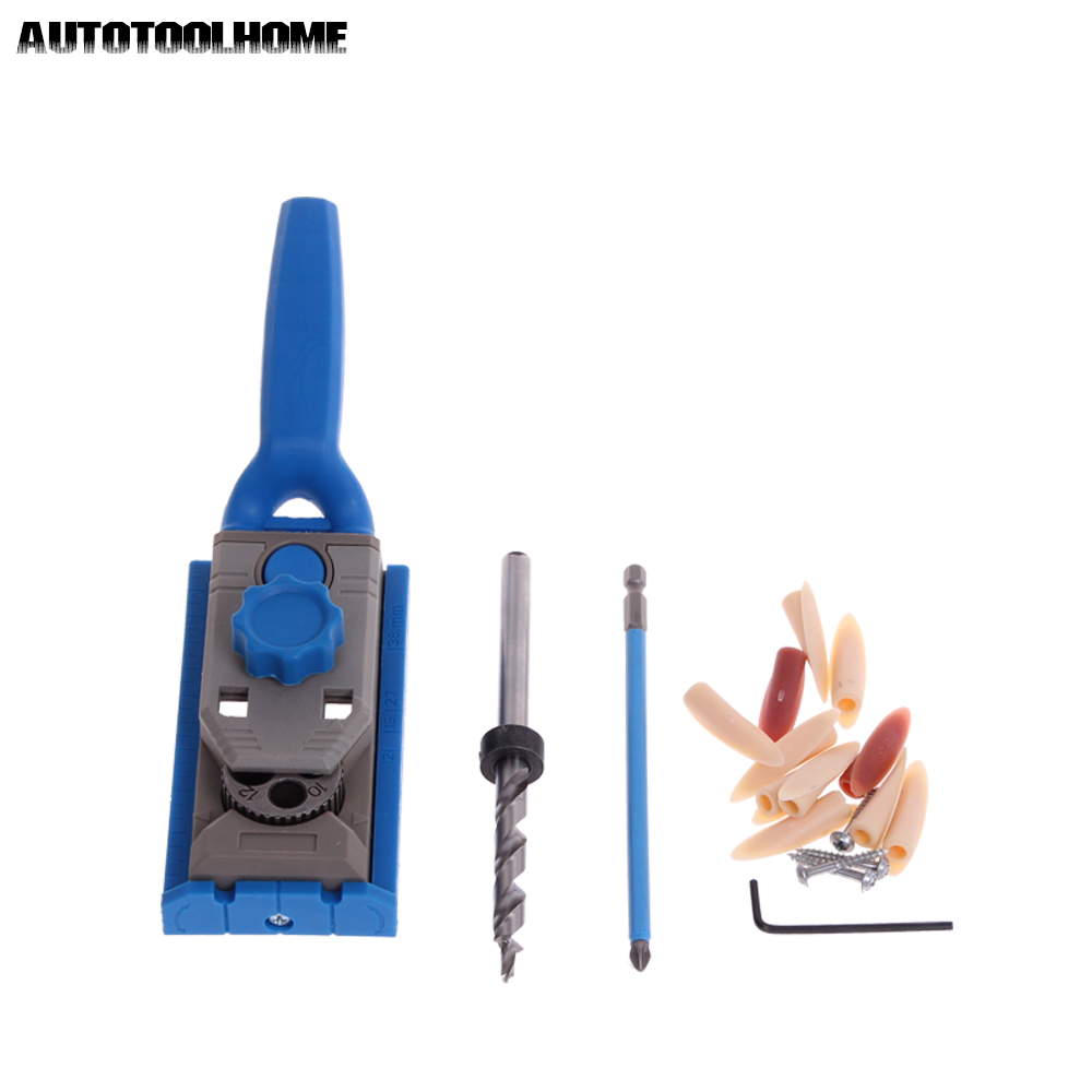 AUTOTOOLHOME Pocket Hole Jig System PH2 Screwdriver Bit 9.5mm Step Drill Guide for Kreg Wood Doweling Joinery Tools Accessories woodworking tool pocket hole jig woodwork guide repair carpenter kit system with toggle clamp and step drilling bit kreg type