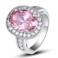 lingmei Wholesale Oval Cut Pink Topaz White Topaz 925 Silver Ring Size 7 8 9 10 11 Women Fashion Popular Jewelry Alluring Rings
