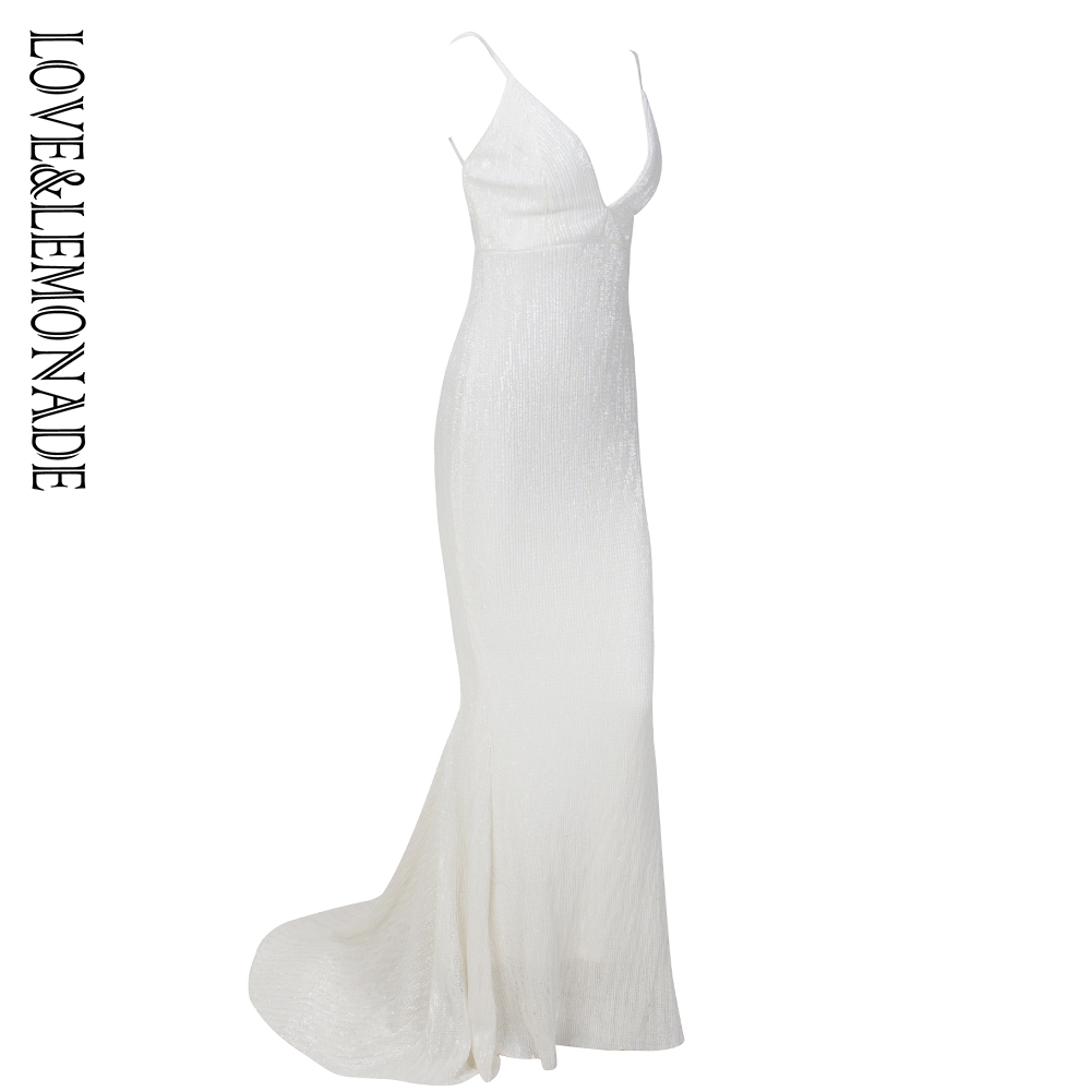 Kadın Giyim'ten Elbiseler'de Aşk ve Limonata Derin V Yaka Beyaz Aç Geri Fishtail Ince Elastik Sequins uzun elbise LM1139'da  Grup 2