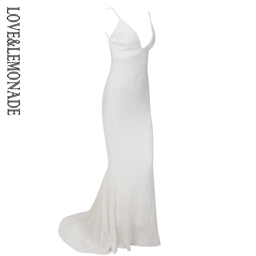 Miłość i lemoniada głęboki dekolt w serek biały otwórz wróć Fishtail Slim elastyczne cekiny długa sukienka LM1139 w Suknie od Odzież damska na  Grupa 2