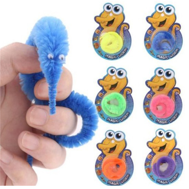 6pcs Magic Filler Trick Twisty Wriggly Wiggly Worm Furry Fun Party Toy Game Kids Pocket Money Toys Games