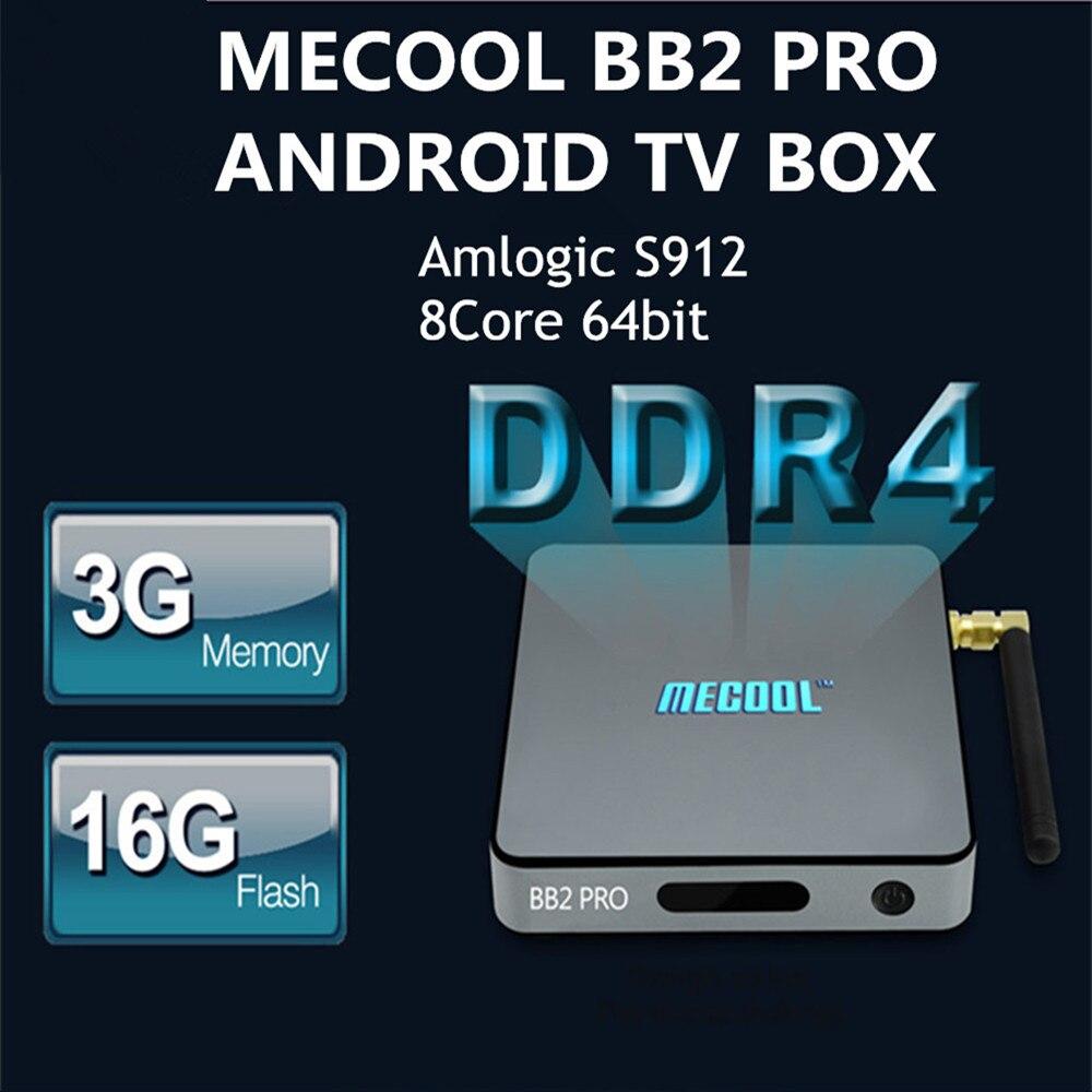 Prix pour MECOOL BB2 Pro Android TV Box Amlogic S912 64 peu Octa core ARM Cortex-A53 3 GB 16 GB 4 K WiFi BT4.0 2.4G/5.8G Wifi Set-top boîtes