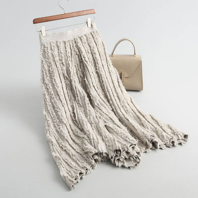J818 New Chic Slim Waist Feather Tassels Deco Big Bottom Knit Skirt Women Irregular length Umbrella
