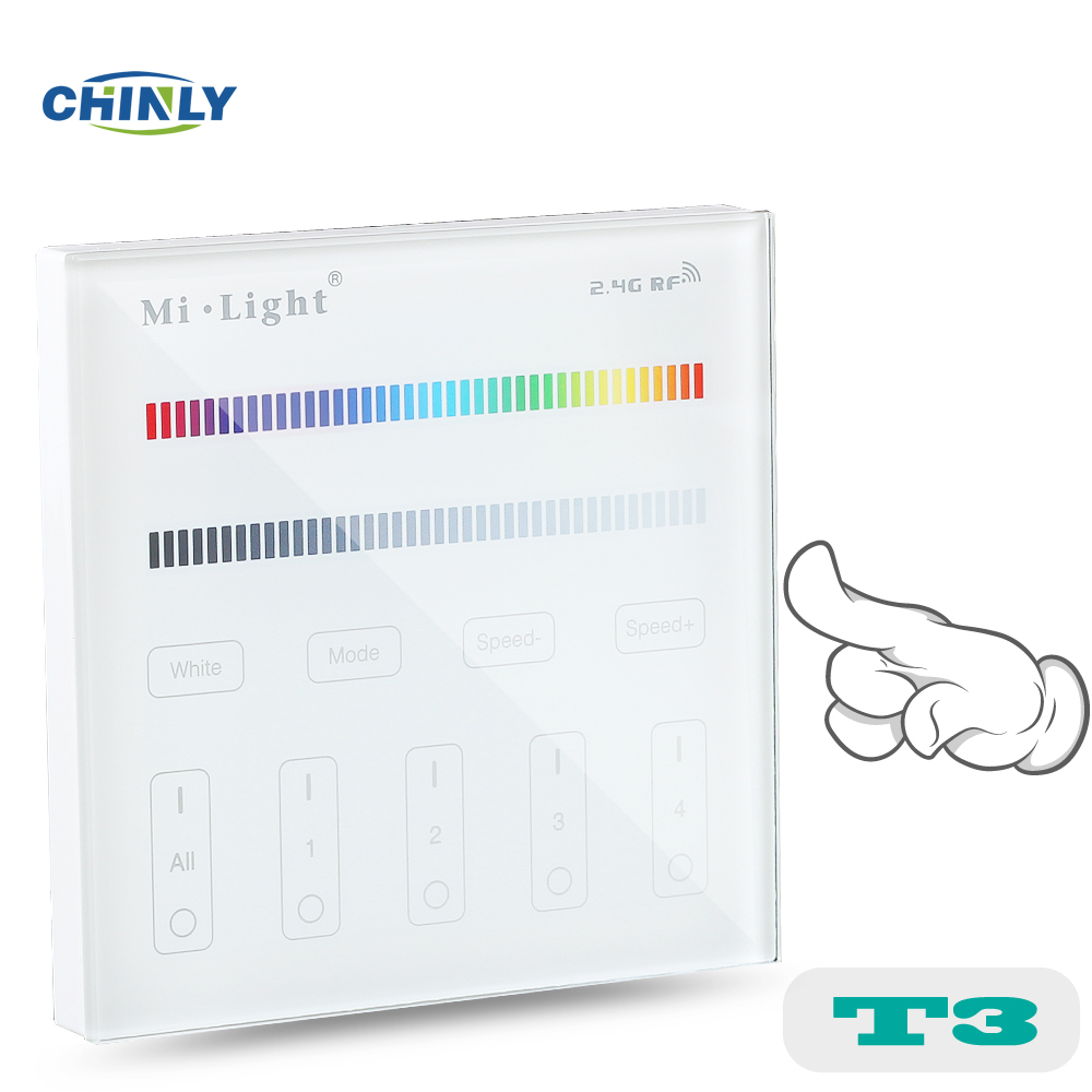 Mi light T3 4-Zone RGB RGBW Wall Hanging LED Touch Switch Panel Remote Controller LED Dimmer for MI LIGHT RGBW RGB Controller laideyi rgb controllers light bar bluetooth led controller lights string music controller lighting controller 4 way 5 pin rgbw