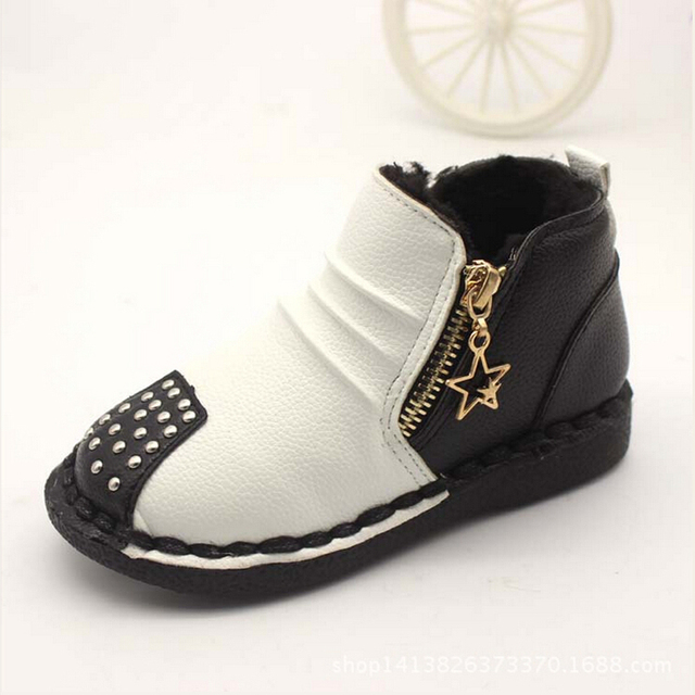 75fb1834f434 Hot sale winter children boots girls shoes fashion rivet contrast color pu  leather girls boots kids warm cotton boys ankle boots