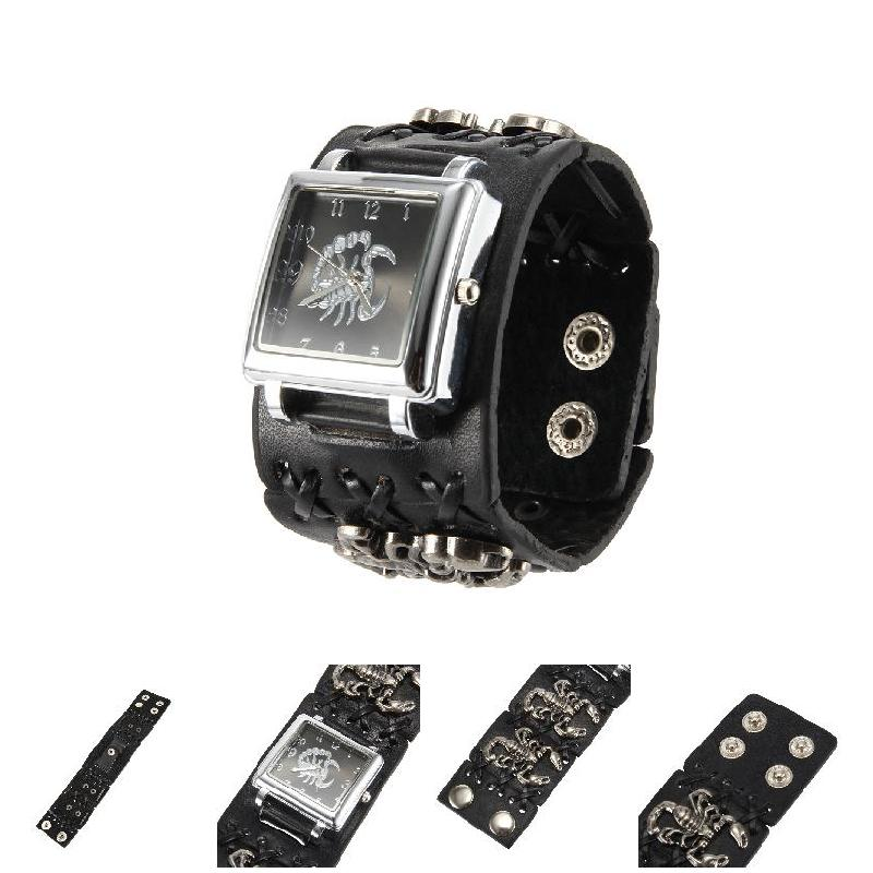 Women Men Punk Style Quartz Wrist Watch with Square Dial Scorpion Pattern Strap Cool Watches LXH цены онлайн