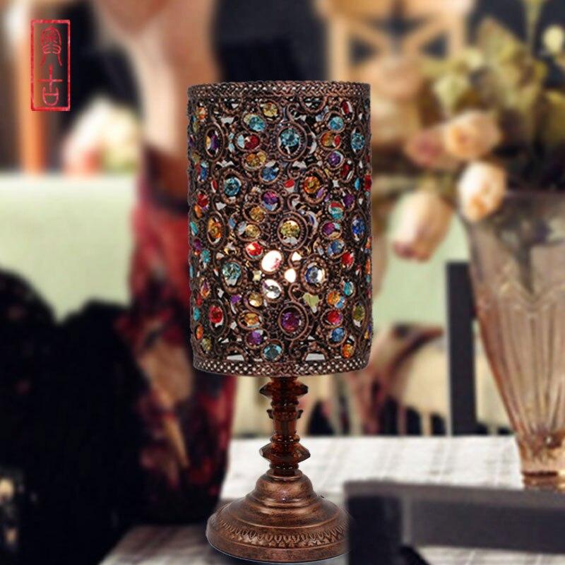 European American retro bronze lamp light living luxury den Bedroom Queen beaded lamp A-6