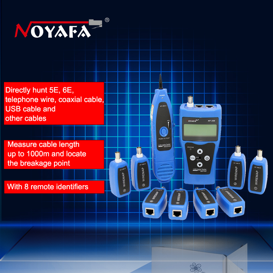 Original Noyafa NF-388 Blue English Version Multifunktionell Nätverkskabel Tester Kabelspårare RJ45 Lan Tester LCD-skärm
