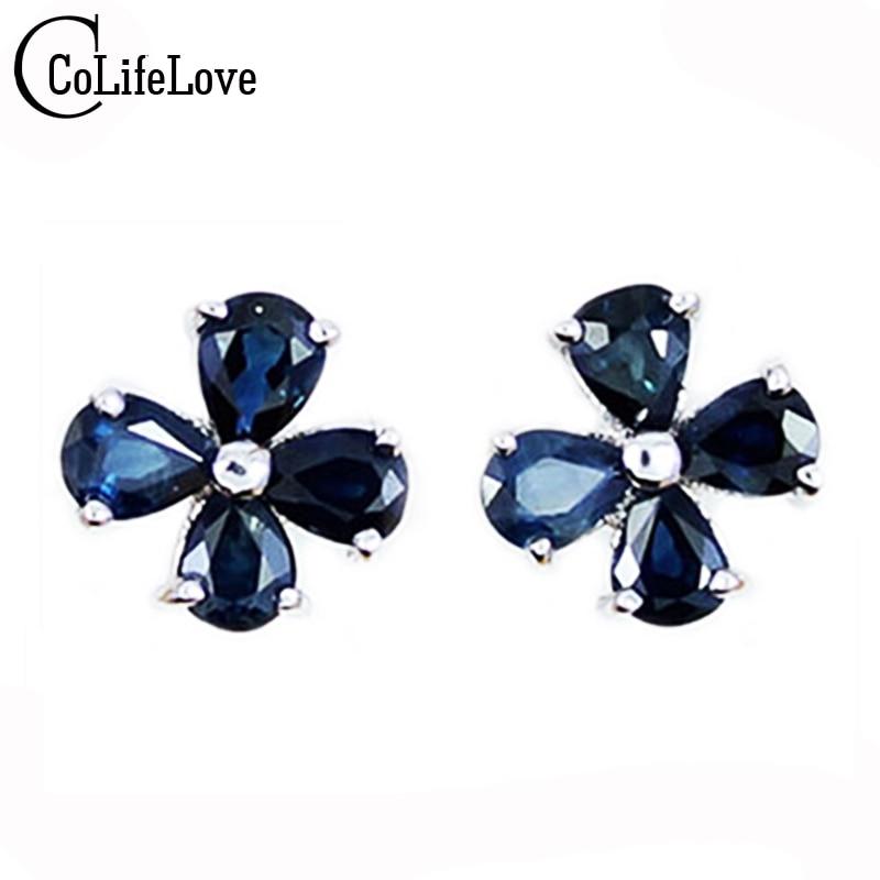 Natural sapphire earrings for women solid 925 silver sterling earrings fasionable simple sapphire gemstone earring