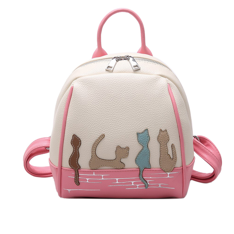 LANYIBAIGE High Quality Leather Woman Backpack Kitten Pattern School Bags For Teenager Girls Leisure Female Backpack Red Blue цены