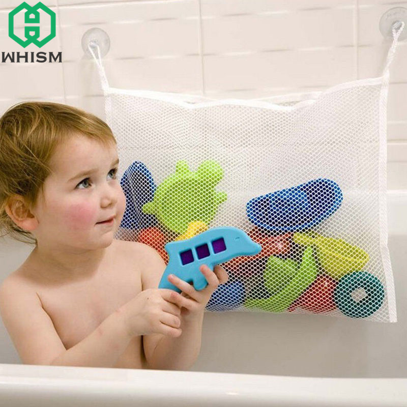 WHISM Folding Baby Toy Storage Bag Wall Mount Bathtub Mesh Storage Bags Suction Cup Hanging Organizer Bathroom Shower Toy Holder