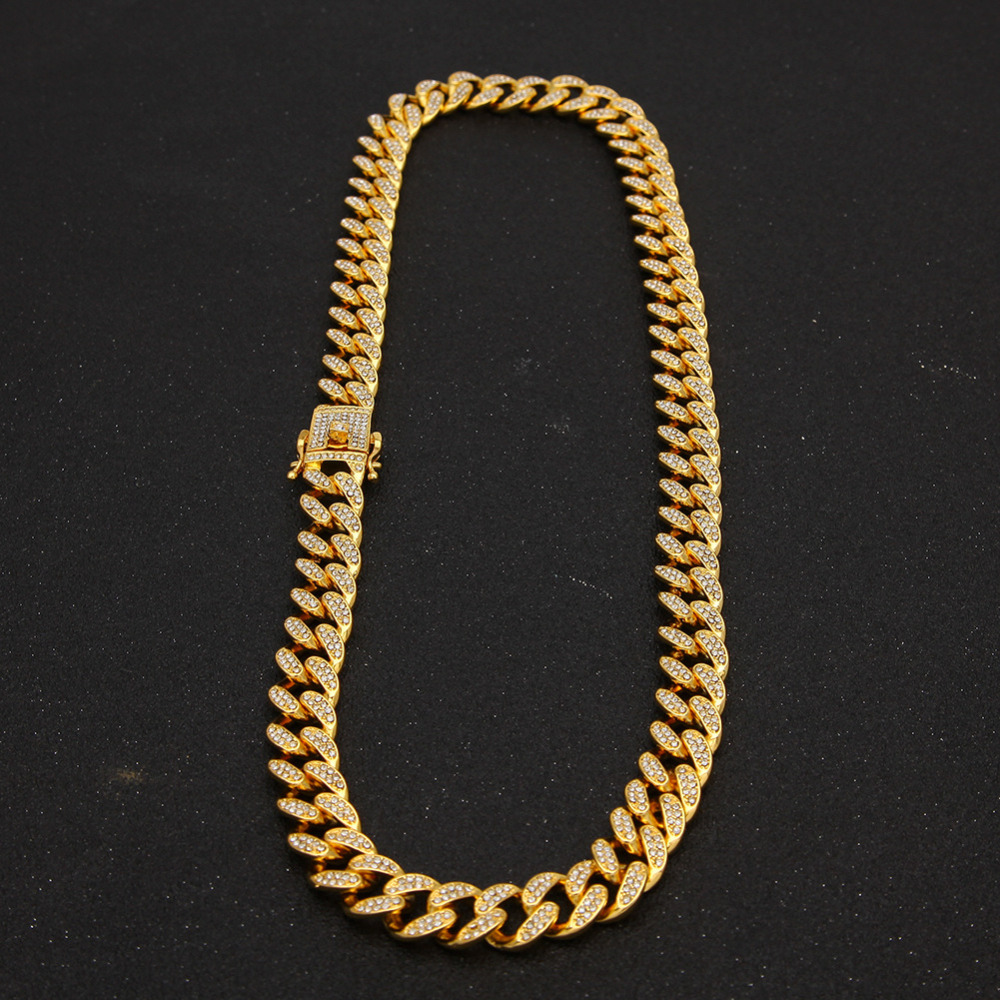 13mm Miami Cuban Link Chain Gold Silver Necklace Bracelet Iced Out Crystal Rhinestone Bling Hip hop for Men Jewelry Necklaces 12