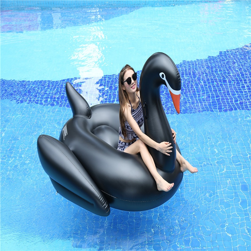 190cm giant Inflatable Black Swan Flamingo floating pool swimming circle    Air Mattress beach party Toy for child adult kids
