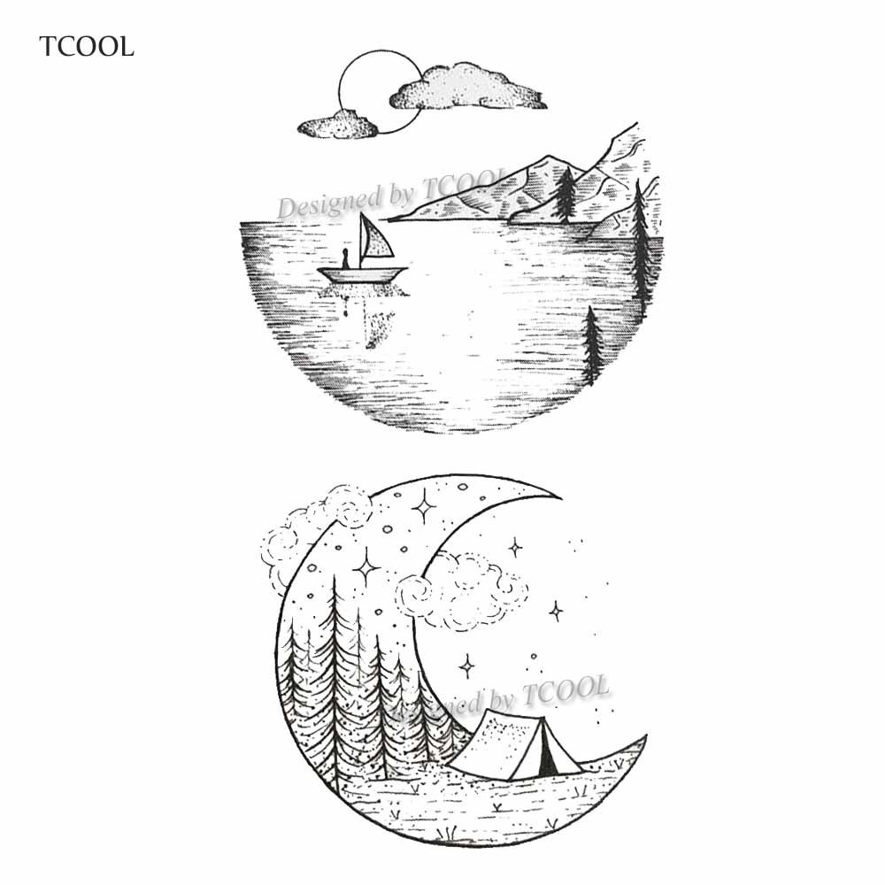 TCOOL Mountain River Temporary Tattoos For Men Fake Body Art Women Original Design Fashion Hand Sticker 9.8X6cm E-008