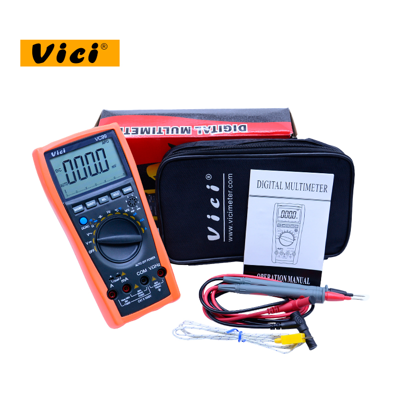 VICI VC99 LCD Digital Multimeter 1000V AC DC resistance capacitance meter +Thermal Couple thermometer tester with pouch bag vici vichy vc480c 3 1 2 digital milli ohm meter resistance tester 4 wire test lcd multimeter diagnostic tool tester data hold