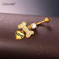 Collare Women Body Jewelry Belly Ring Navel Bar Yellow Gold/Silver Color Crystal Drop Heart Shape Cute Belly Button Rings DB135