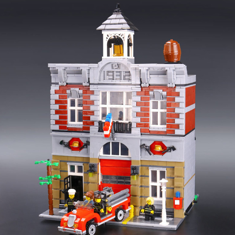Building Blocks City Street 2313Pcs 15004 Compatible 10197 Fire Brigade Model Toys For Kids Bricks Lepin city street in blocks city architecture mini street scene view reims cathedral police headquarters library fire departmen building blocks sets toys