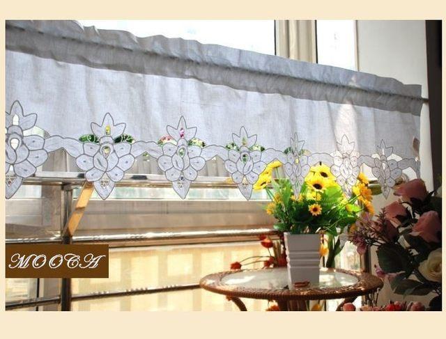 Online shop wit korte keuken gordijnen katoen cafe gordijn