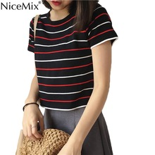 NiceMix New Summer Crop Top Women T-shirt Stripe Kawaii T Shirt Cotton Tops Tee Harajuku Tshirt Vetement Femme 2019