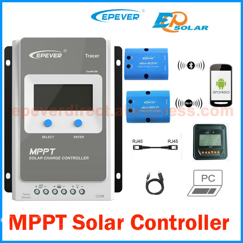 Tracer 4210AN 40A MPPT Solar Charge Controller 12V 24V LCD EPEVER Regulator MT50 WIFI Bl ...