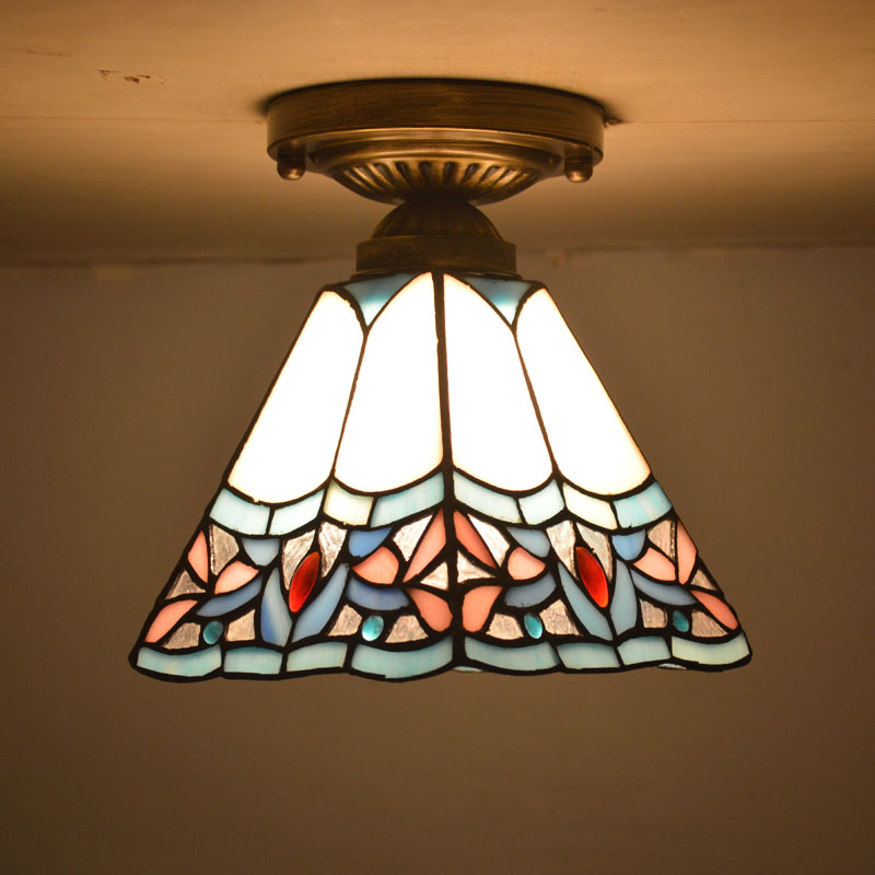 Tiffany Ceiling Light Stained Glass Shade Art Deco Style Bedroom Home Lighting E27 110-240V