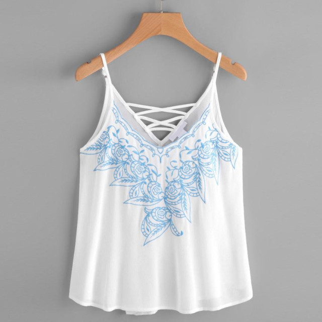 8f3b70cceef94 Embroidered Women Tank Top White Chiffon Strappy Summer Tops V Neck  Sleeveless Tanks Summer Crops For Women Canottiere Donna 9