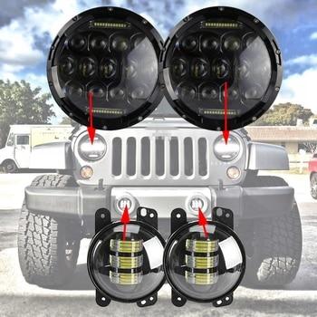7inch DRL LED Headlight + 4inch LED Fog Light For Hummer Wrangler Jeep JK TJ LJ