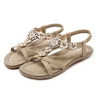 2018 Hot Summer Women Flat Pu Sandals Shoe Rhinestone Gladiator Chaussure Femme Waterproof Party Shoes Huarache Sandalias Mujer