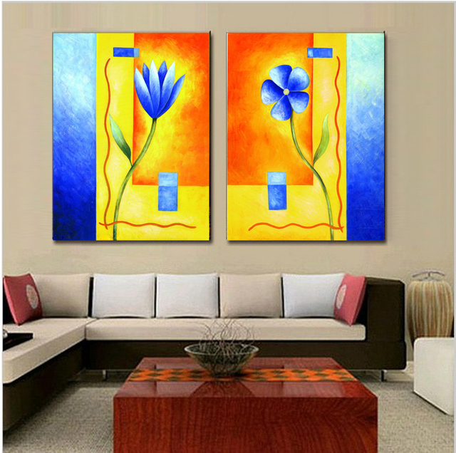 Aliexpress.com : Buy 2 pieces handmade painting fresh flower on oil ...