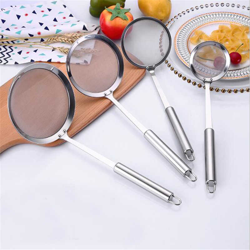 Eco-friendly Colanders Multifunctional Filter Spoon Stainless Steel Fine Mesh Wire Oil Skimmer Strainer Fried Food Net Cookware