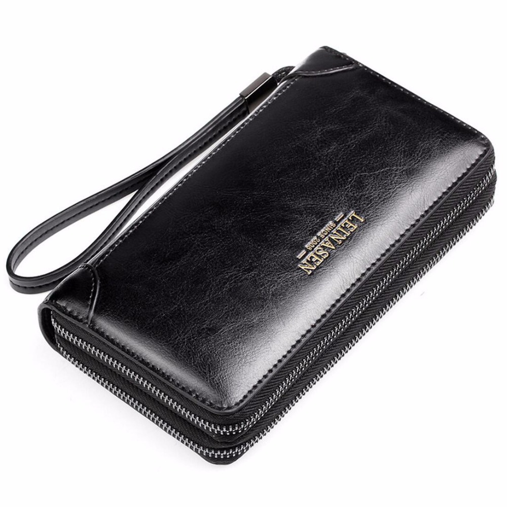 2017 New Business Mens Wallets Fashion Large Capacity Long Clutch Bags Double Zipper Split Leather Wallets Card Holder Purse large capacity clutch purse female card bags new women long star wallet fashion banquet zipper pu leather wallets