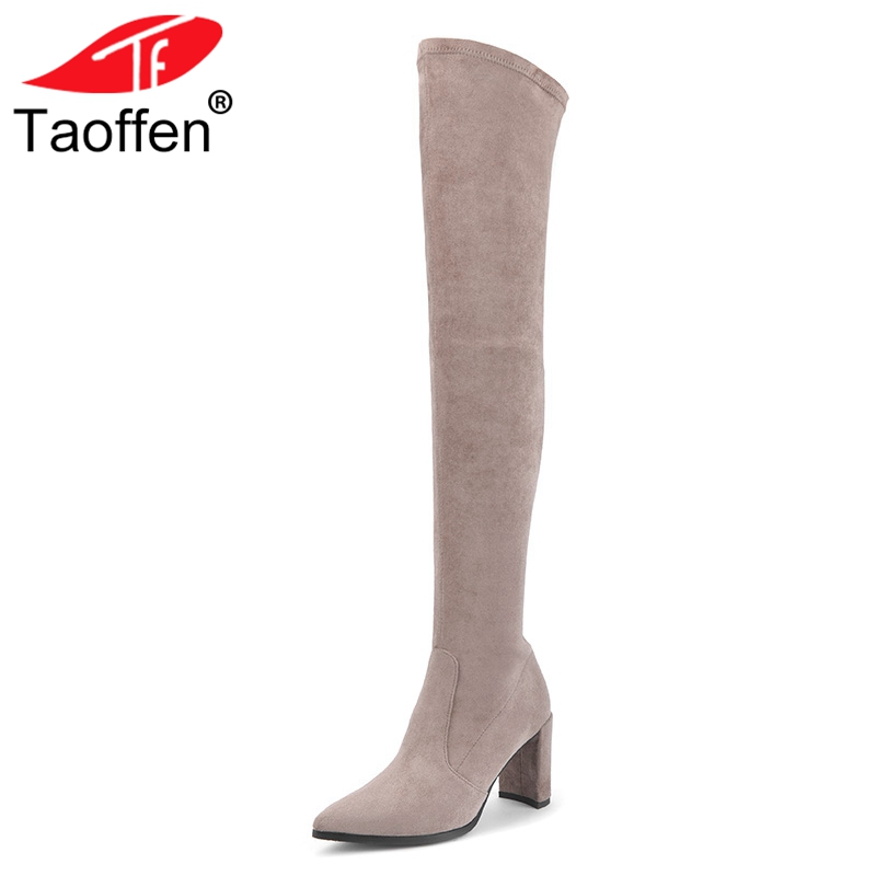 Taoffen Women High Heels Stretch Boots Keep Warm Winter Shoes Women Sexy Pointed Toe Thick Heels Over Knee Boots Size 33-40Taoffen Women High Heels Stretch Boots Keep Warm Winter Shoes Women Sexy Pointed Toe Thick Heels Over Knee Boots Size 33-40