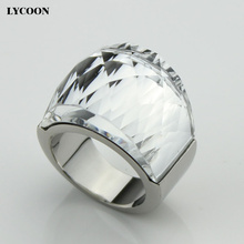 ¡ Venta caliente! LCYOON Austriacos Genuinos grandes Anillos de cristal de alta calidad anillo de bodas del acero Inoxidable 316L de la manera para las mujeres R0614