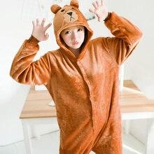 Women Brown Bear Cosplay Kigurumi Onesie Adult Funny Animal Sleepwear Men Loose Warm Anime Pajamas Jumpsuit Winter Onepiece