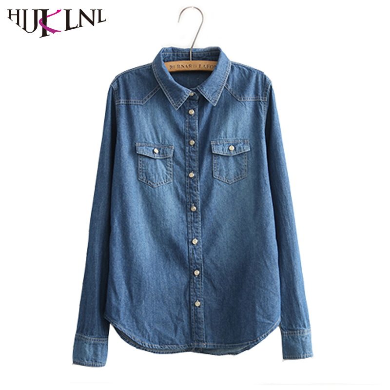 Hijklnl plus size 2017 fashion spring ladies denim shirts for Jeans shirt for ladies online