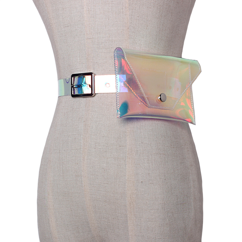 The Cheapest Price New Handmade Women Holographic Waist Belt Vinyl Pvc Hologram Pouch Belt Bag Rainbow Pvc Pouch Pack Clothes Decoration Women's Belts