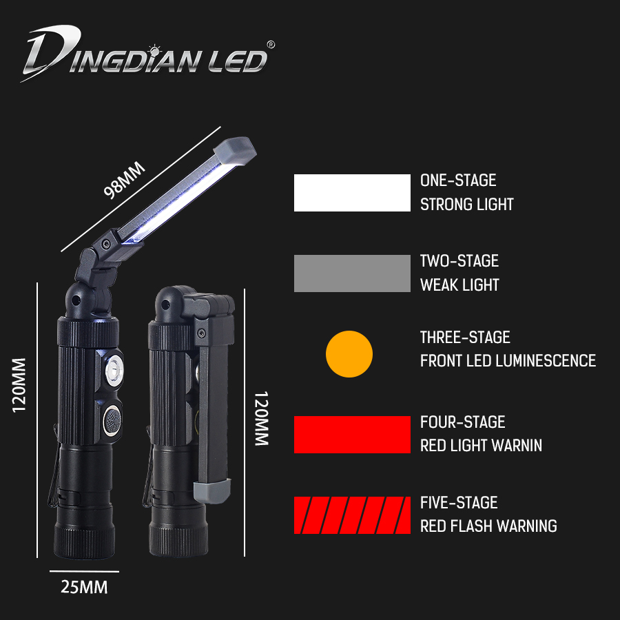 Foldable LED Working Light COB 5W LED Portable Lantern 400LM Outdoor USB Rechargeable 18650 Battery Torch Flashlight Camping Led in Portable Lanterns from Lights Lighting