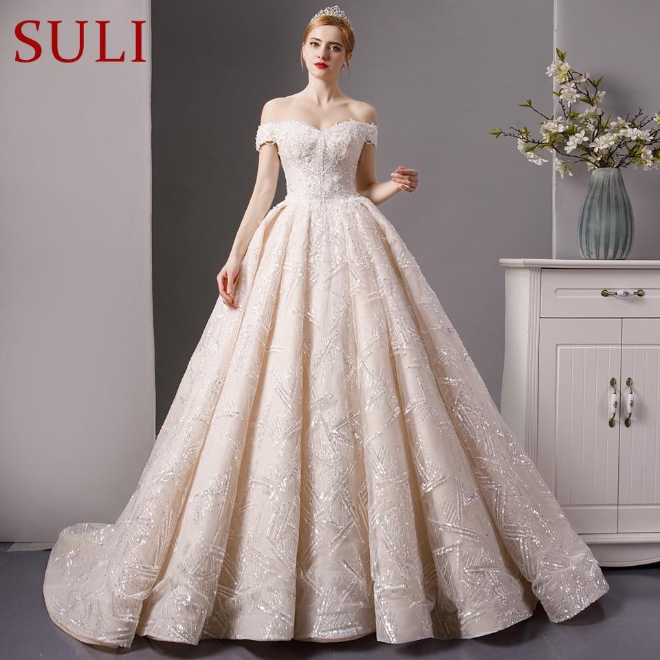 SL 6075 Luxury Wedding Dress 2019 Bling Bling Lace Bridal