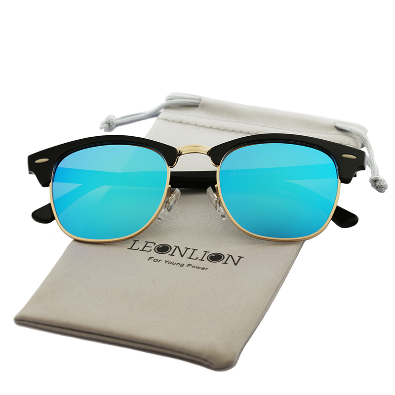 LeonLion  Polarized Semi-Rimless Sunglasses Women/Men Polarized UV400 Classic Brand Designer Retro Oculos De Sol Gafas 1