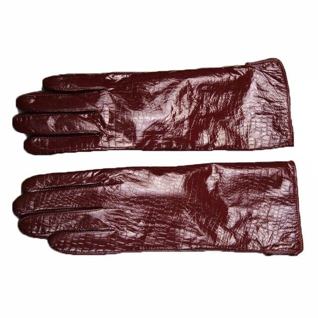 Promotion Sale Gloves Women Adult Patent Leather Gloves Jujube Color Shortparagrap Mittens