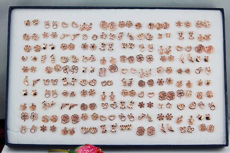 Fashion 100 Pairs High Quality Rose Gold color Stud Earrings Mixed Style Hollow Flower Heart Animal Earrings Gift YE41