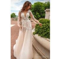elegant boho long wedding dress 2019 low v neck long sleeve beaded beach wedding gown women bridal marry gowns vestido de noiva