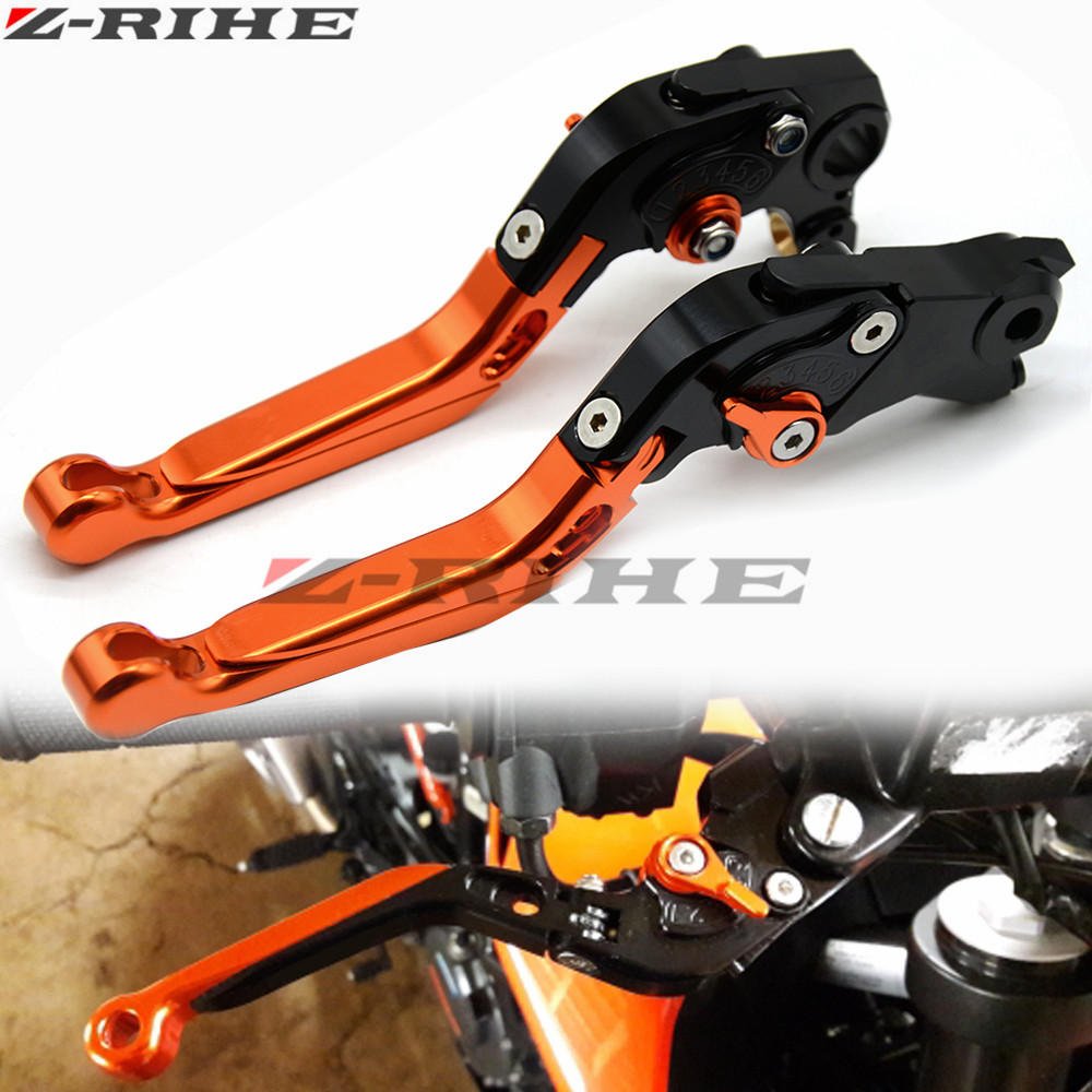 2018 NEW Orange Color Motorcycle CNC Aliminum Adjustable Folding Extendable Brake Clutch Levers Fit For KTM Duke 125 200 390 for ktm 390 duke motorcycle leather pillon rear passenger seat orange color