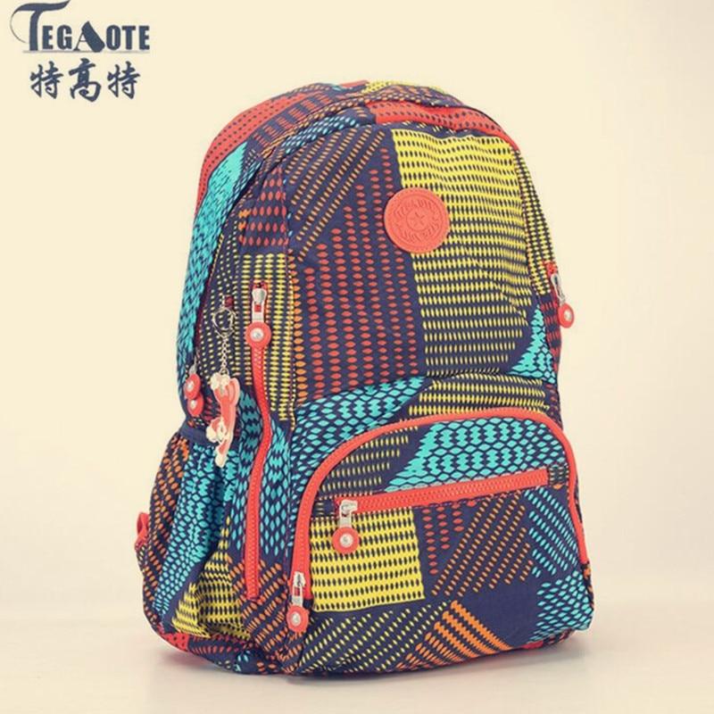 TEGAOTE Floral-Backpack Kipled Latest Casual Teenage-Girl Nylon for Feminine Women Sac