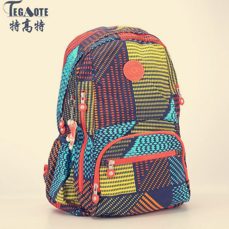 TEGAOTE 2019 Latest Floral Backpack For Teenage Girl Feminine Backpack Casual Kipled Nylon Backpacks Women Bagpack Sac A Dos Bag