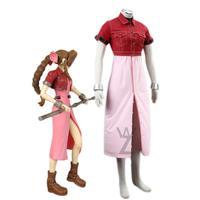 Game Final Fantasy VII Aerith Gainsborough Cosplay Costume Sexy Girls Pink Dress Short Coat Halloween