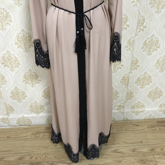 F8809-2 Muslim Lace Splicing Coat Middle East Long Robe Kaftan dubai abayas for women 5