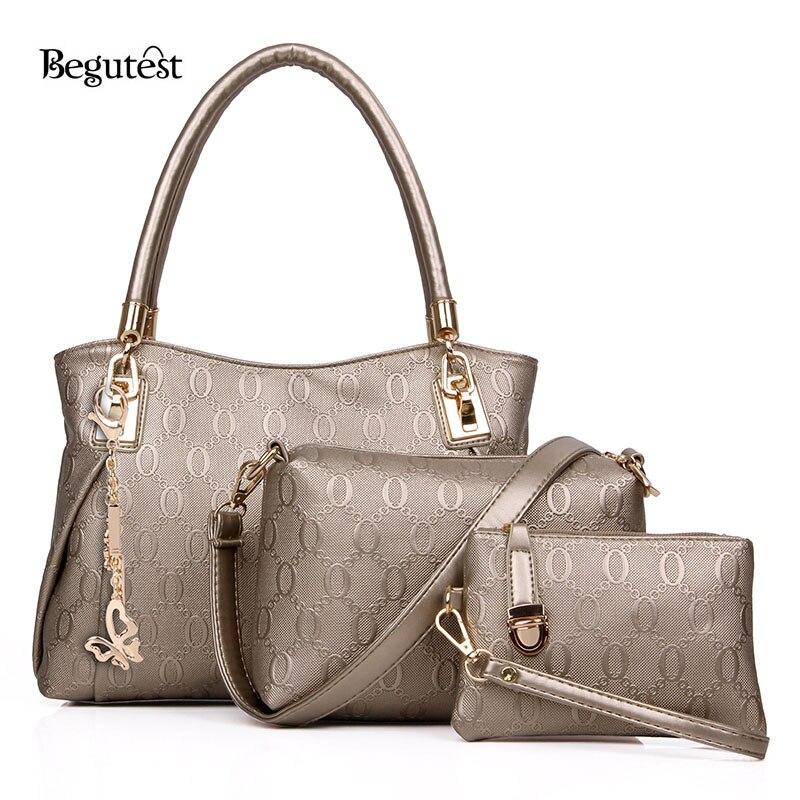 ФОТО New Begutest Brand Designer  3 Piece Set Women Bag  Luxury Style Female Handbag High Quality  Designer Leather  Messenger Bags