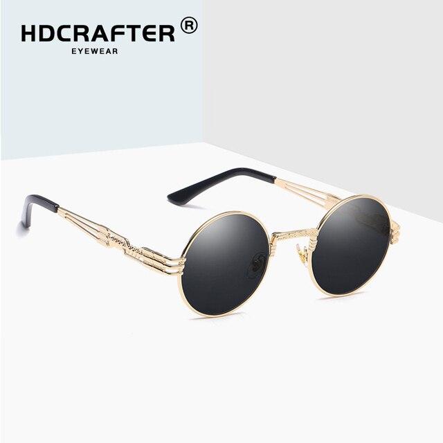ce71eff976660 HDCRAFTER retro steampunk gótico do vintage espelho óculos de sol de ouro e  preto homens UV